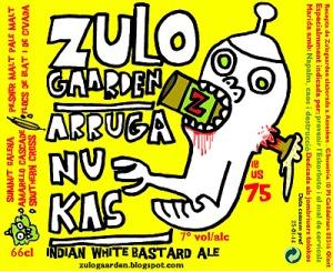 Etiqueta de la cerveza Arruganukas, de la fábrica artesanal catalana Zulogaarden.